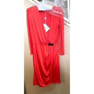 Pucci Long Sleeve Coral Dress 8 made in Italy